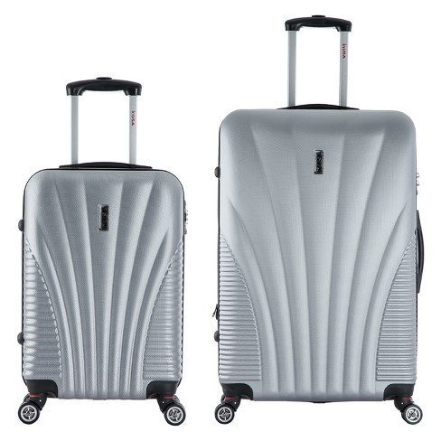"""InUSA Chicago 2pc Hardside Spinner Luggage Set 21""""& 29"""" - Silver - image 1 of 4"""