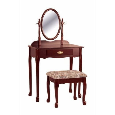Vanity Table and Stool Set with Oval Mirror Cherry Brown - Benzara