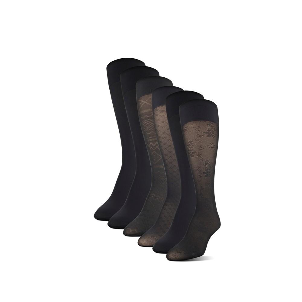 Women's 6pk Aroma Control Socks - Black 9-11