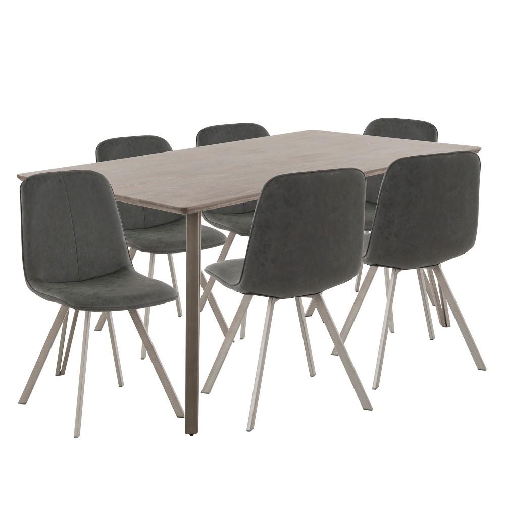 Sedona 7pc Industrial Dining Set Dark Brown/Black - LumiSource, Brown/Blue