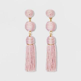 SUGARFIX by BaubleBar Crystal Studs Tassel Drop Earrings - Red