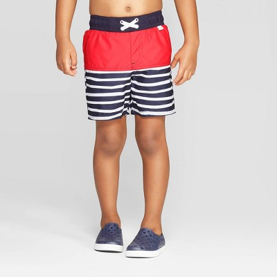 Toddler Boys' Stripe Colorblock Swim Trunks - Cat & Jack™ Navy 2T