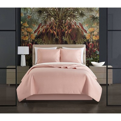 King 7pc Nika Bed In a Bag Quilt Set Blush Pink - Chic Home Design