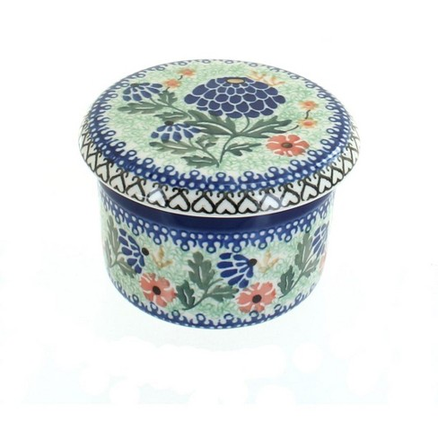 Blue Rose Polish Pottery Sofia French Butter Dish - image 1 of 2