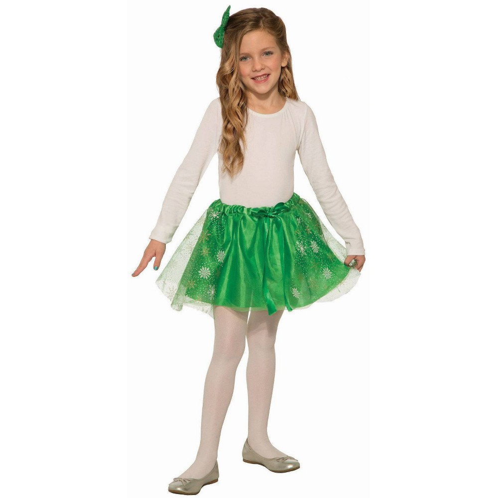 Image of Halloween Girls' Green Sparkle Skirt Costume One Size, Girl's