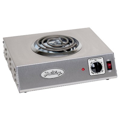 BroilKing CSR-1TB Stainless Steel 1100 Watt Tubular Heating Element Single Burner Hot Plate with Infinite Heat Control Knobs and Power Lights