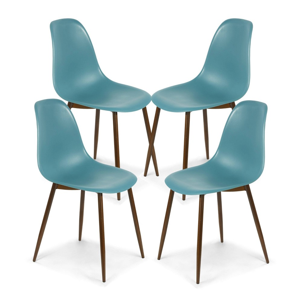 Set of 4 Virginia Sculpted Dining Chair Teal/Walnut - Poly & Bark Best