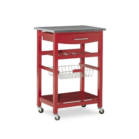 Clarke Kitchen Cart Red - Linon