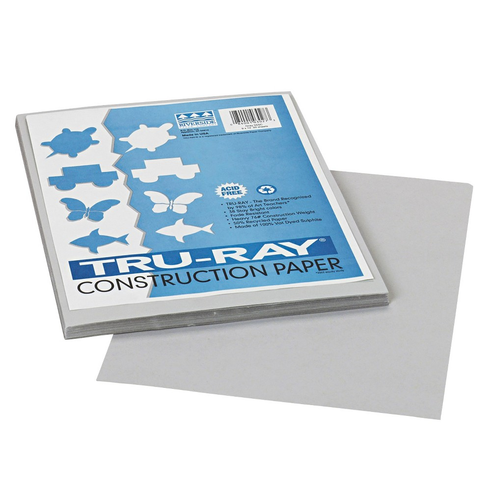 Pacon Tru-Ray Construction Paper, 76 lbs, 9 x 12 - Gray (50 Sheets Per Pack)