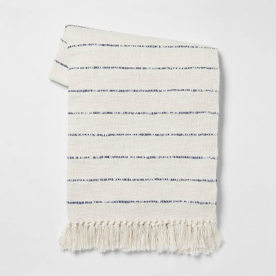 Cotton Woven Striped Throw Blanket with Frayed Edges - Threshold™