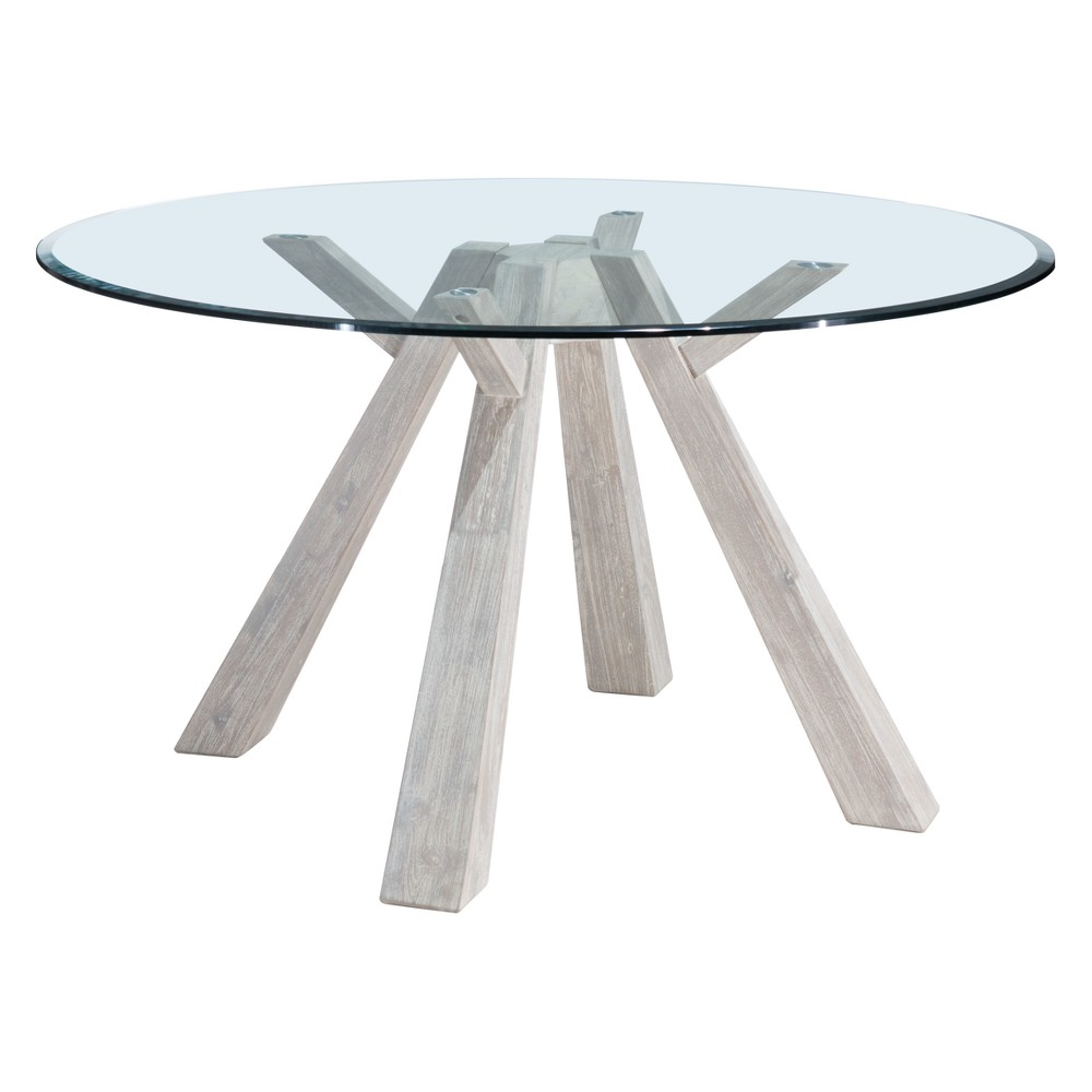 Coastal 54 Round Glass Top Dining Table Sun Drenched Acacia - ZM Home, Gray