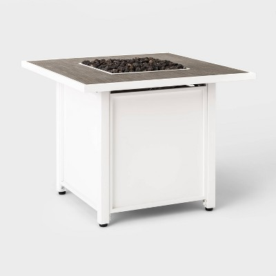 "Berkley 30"" Square Outdoor Propane Fire Table - White - Threshold™"