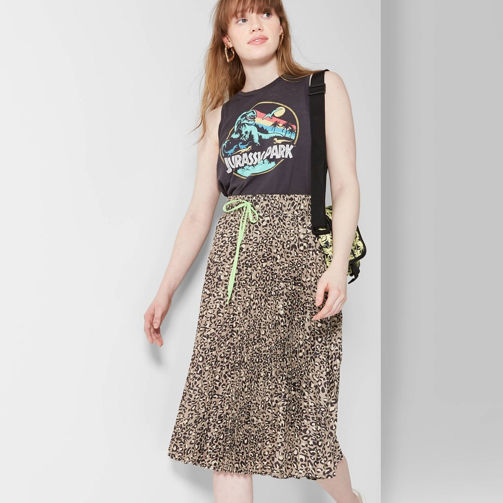 Women's Leopard Print Pleated Midi Skirt - Wild Fable Black/Tan M