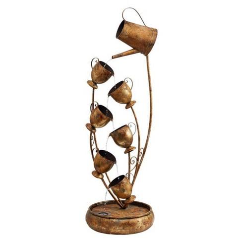Garden Tea Party Cascading Metal Illuminated Sculptural Fountain - Acorn Hollow - image 1 of 4