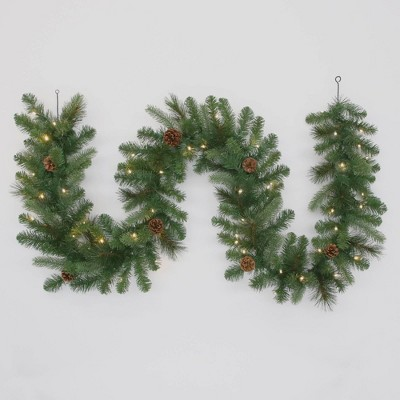 Philips 9ft Christmas Pre-lit LED Decorated Artificial Pine Garland White