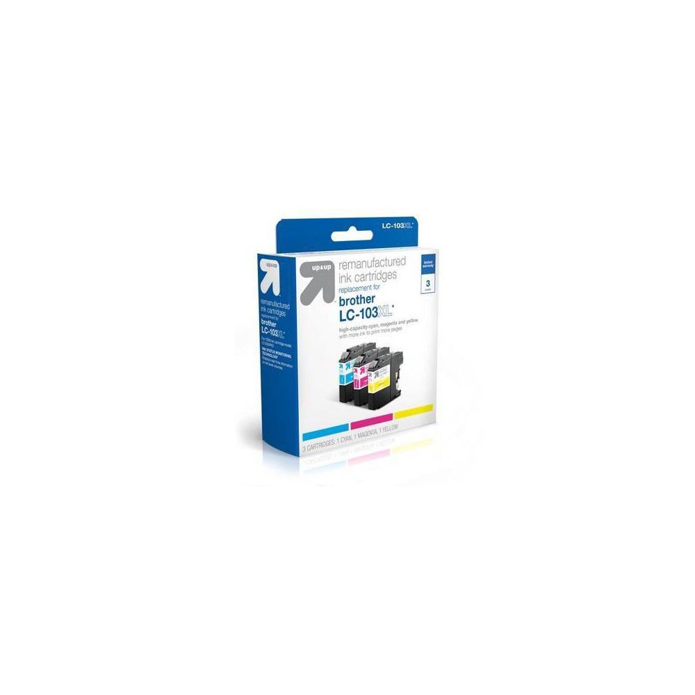 Brother LC 103 Ink Cartridges 3-Pack - Cyan, Magenta, Yellow - Up&Up, Multi-Colored UpandUp Ink Cartridges = Quality, Savings, Environmentally Friendly. The use of UpandUp brand Inkjets will Not void your printer warranty so buy with confidence, save money and get a high-quality replacement with a 100 percent satisfaction guarantee! Each original cartridge processed has been specifically filled and then tested, so it works like the original in your printer. UpandUp helps to protect the environment by keeping used original cartridges out of landfills for remanufacturing; Target recycles so bring your Inkjets back to Target. For support on your cartridge, call 877-925-3700; or go online to our cartridge support website. Color: Multi-Colored.