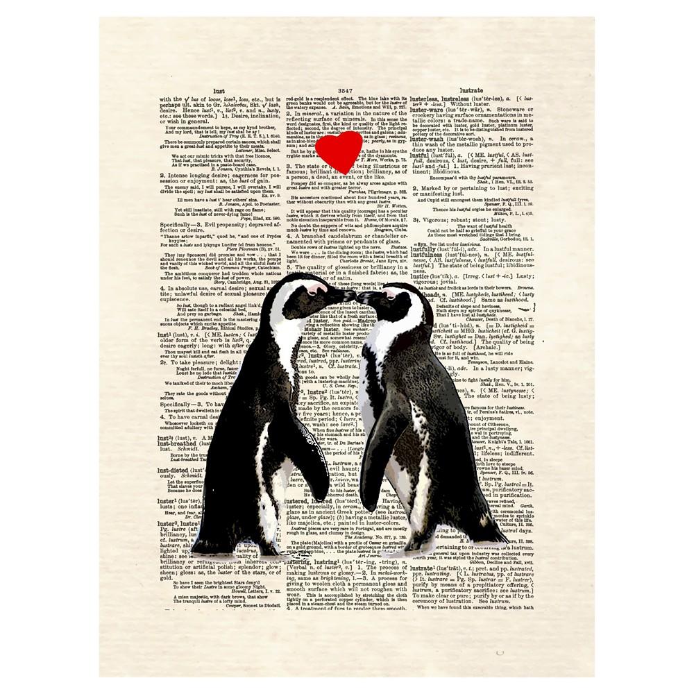 Penguin Lovers by Matt Dinniman Unframed Wall Art Print, Black