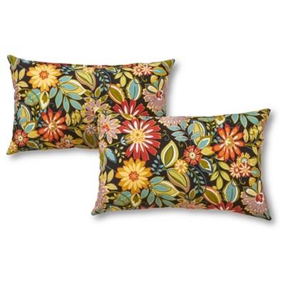 Set of 2 Jungle Floral Outdoor Rectangle Throw Pillows - Kensington Garden