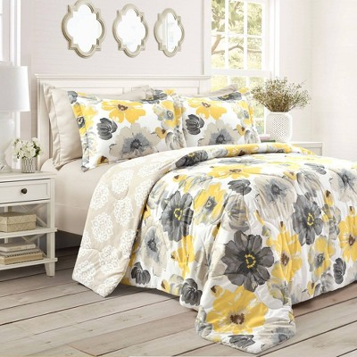 King 6pc Leah Comforter Set Yellow/Gray - Lush Décor