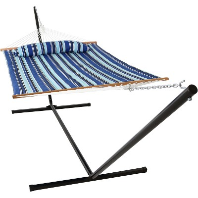 Catalina Beach Quilted Double Fabric Hammock with 15' Stand - Blue Stripe - Sunnydaze Decor