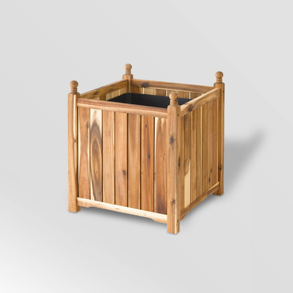 "Image of ""14"""" Wooden Lexington Square Planter Natural - DMC Products"""