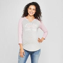 f75e255a Maternity Happy Vibe, Happy Tribe Raglan 3/4 Sleeve Graphic T-Shirt -