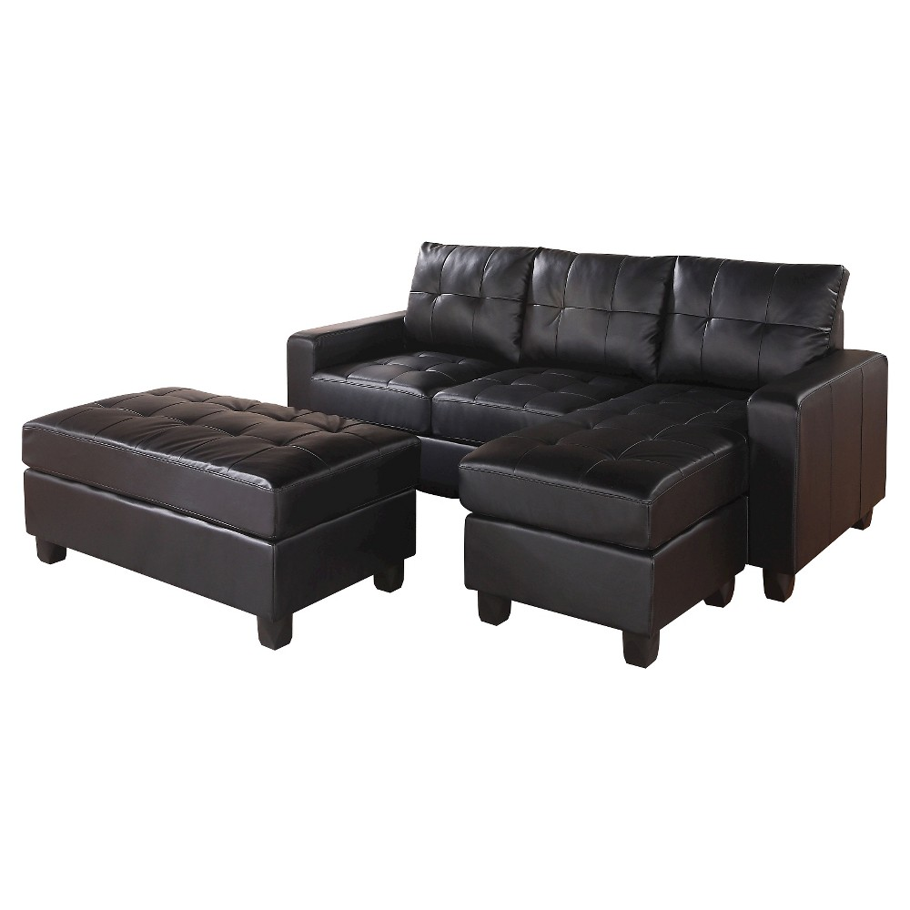 Image of 3pc Acme Lyssa Reversible Sectional Sofa Black - Acme Furniture