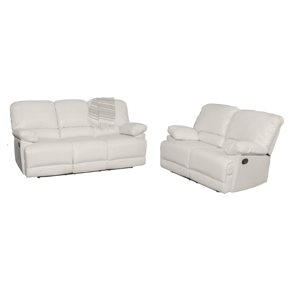 Lea 2pc White Bonded Leather Reclining Sofa Set - Corliving