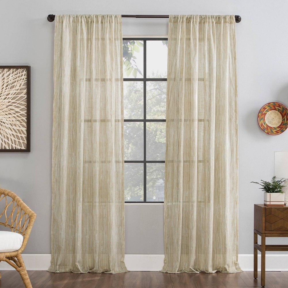 "Image of ""50""""x84"""" Bamboo Stripe Cotton Sheer Curtain Linen - Archaeo, Size: 50""""x84"""""""