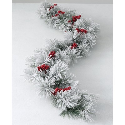 """Sullivans Artificial Flocked Pine and Berry Garland 60""""L White"""