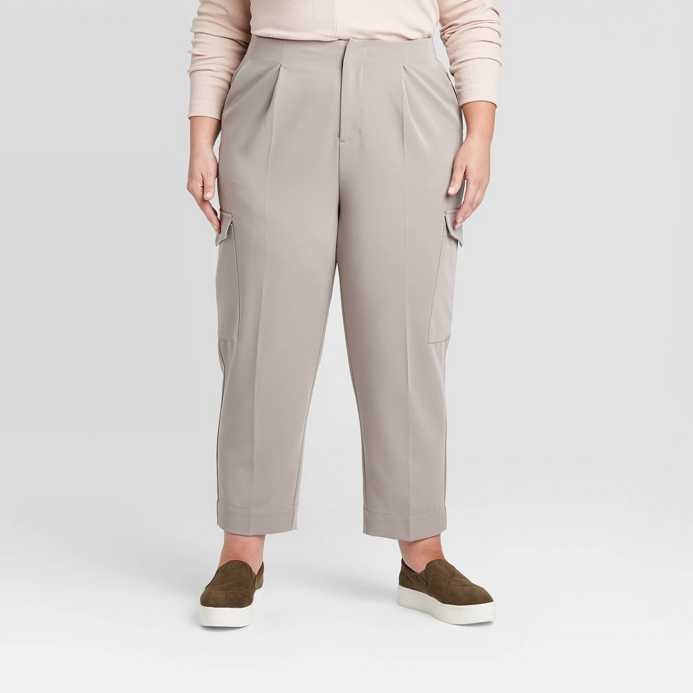 Women's Plus Size Mid-Rise Ankle Length Cargo Pants - Prologue Gray 26W was $29.99 now $20.99 (30.0% off)