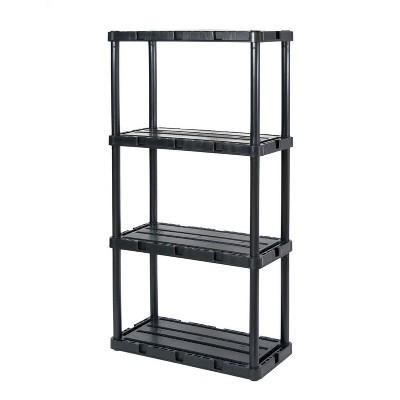 Gracious Living 91089-1C 24 x 12 x 33 Inch Knect A Shelf Fixed Height Light Duty Interlocking Home Garage Storage 4 Shelf Shelving Unit, Black