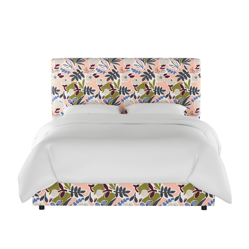 California King Olivia Upholstered Bed Peach Floral - Cloth & Co.