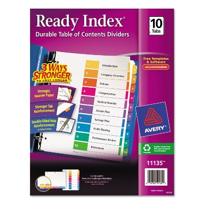 Avery Ready Index Customizable Table of Contents Multicolor Dividers 10-Tab Letter 11135