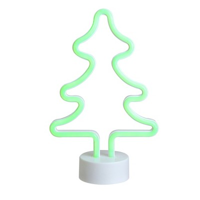 """Northlight 11"""" Battery Operated Neon Style LED Christmas Tree Table Light - Green"""