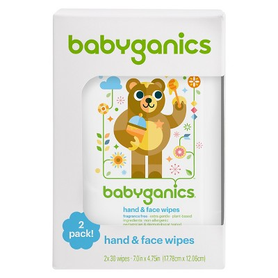 Babyganics Fragrance-Free Hand & Face Wipes - 60ct