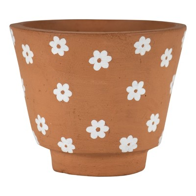 Natural Handthrown Terracotta Planter with White Floral Accents - Foreside Home & Garden