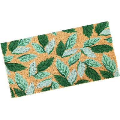 "1'5""x2'5"" Rectangle Outdoor Pressed or Molded Floral Accent Rug Green - Sunnydaze Decor"