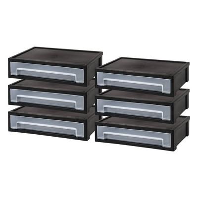 IRIS 6pk Large Desktop Storage Drawer Black