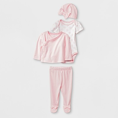 Baby Girls' 4pc Bodysuit Sets - Cloud Island™ Pink 3-6M