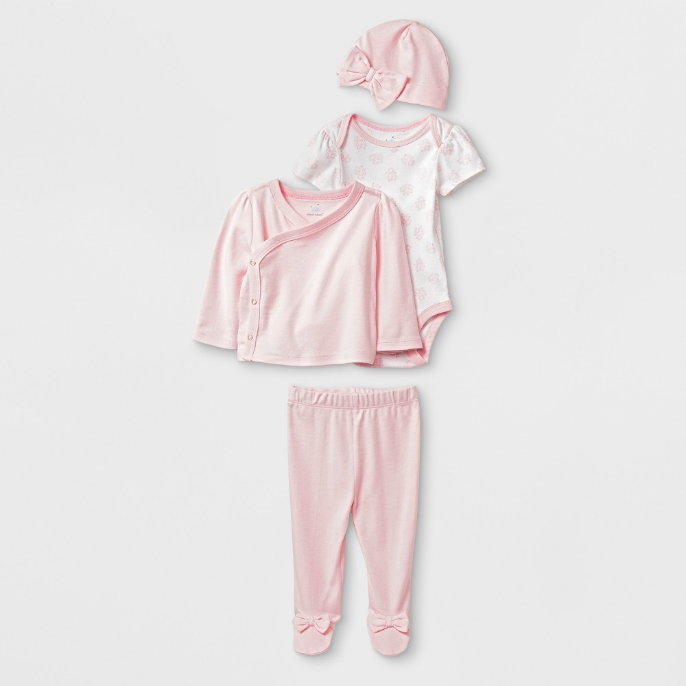 Baby Girls' 4pc Bodysuit Sets - Cloud Island Pink 3-6M