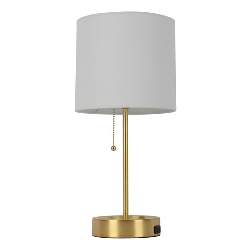 Table Lamp White Shade with Brass Base (Lamp Only) - Room Essentials™ - image 1 of 2