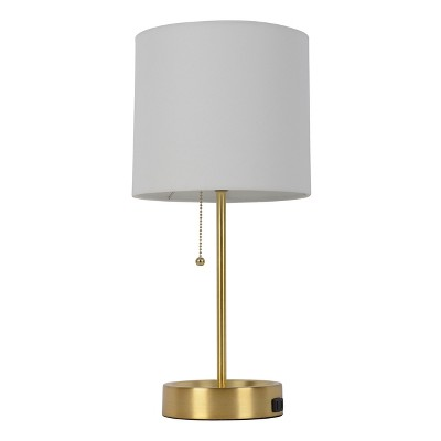 Table Lamp White Shade With Brass Base (Lamp Only)   Room Essentials™