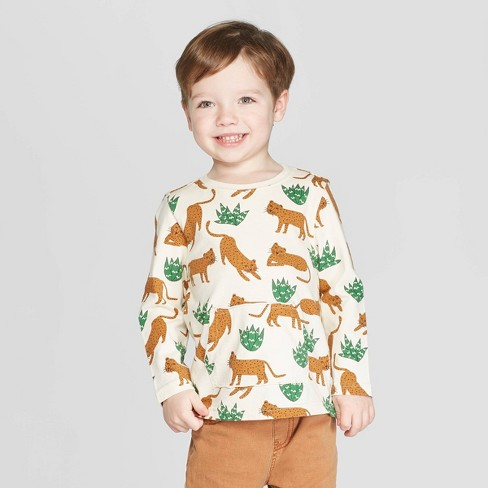 Toddler Boys' Long Sleeve Cheetah Printed T-Shirt - art class™ Cream 3T - image 1 of 3