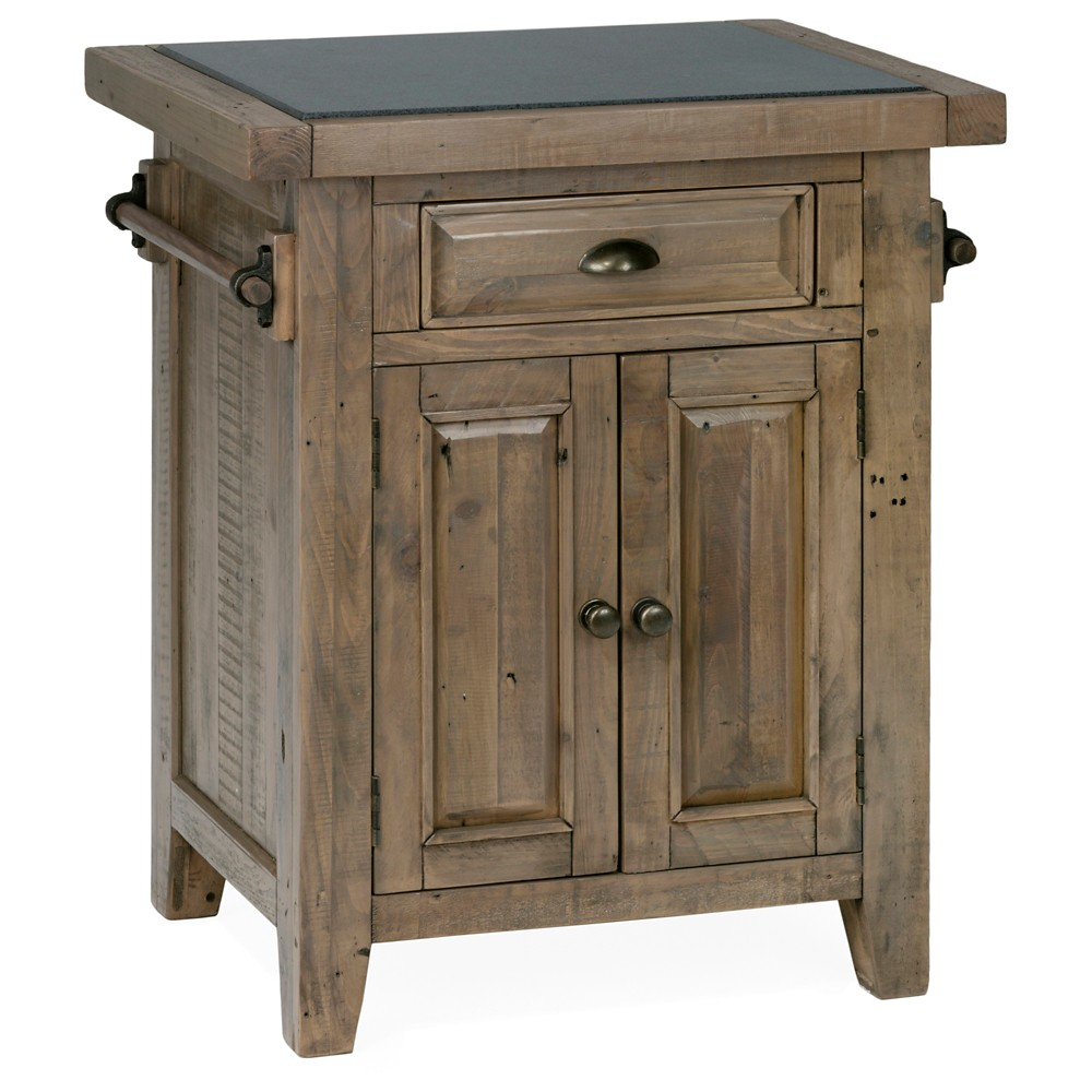 Slater Mill Small Kitchen Island with Granite Top Wood/Reclaimed Pine - Jofran Inc.