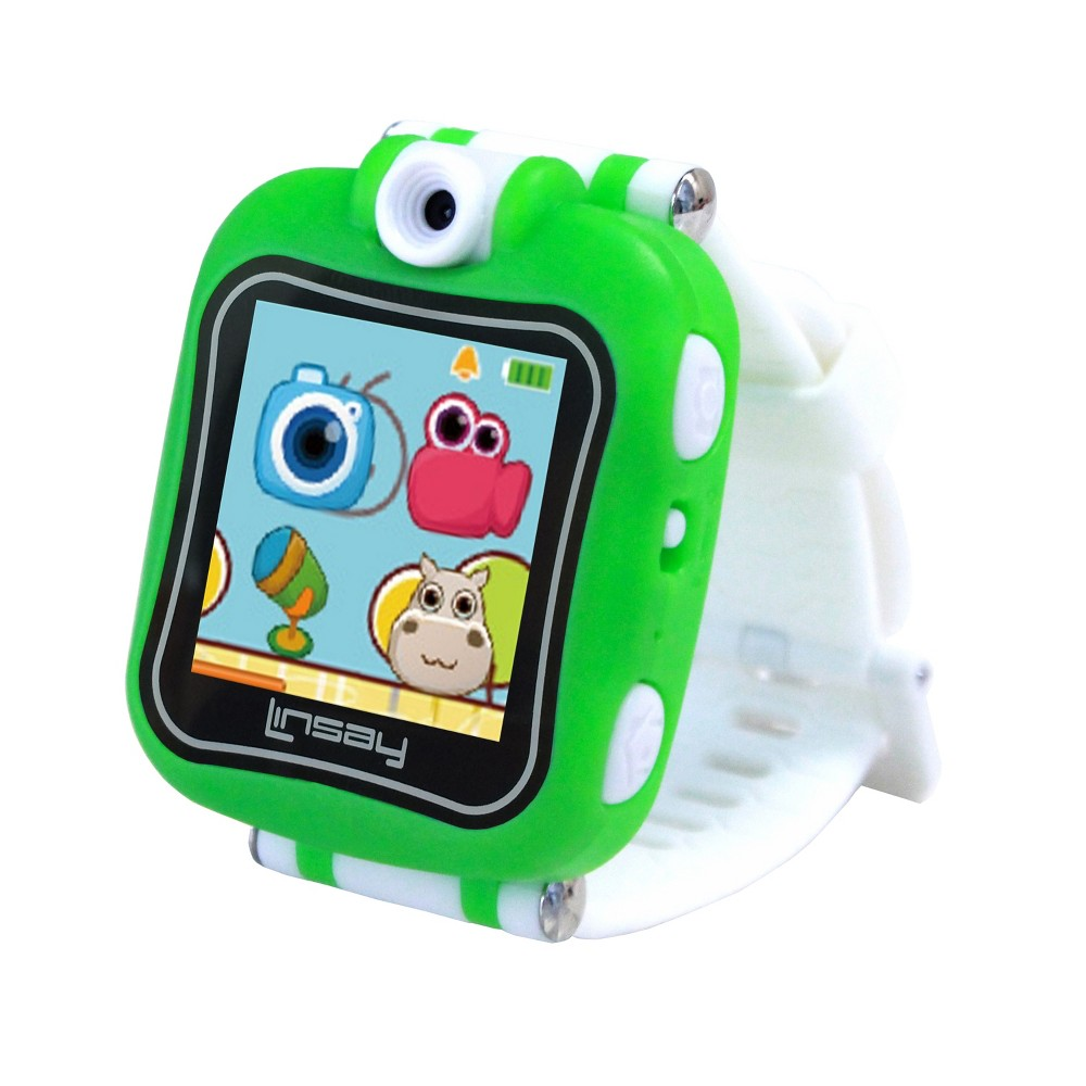 Linsay 1.5 Kids Smartwatch 90 Degree Selfie Camera HD for Videos/Photos Learning Apps Green, Kids Unisex