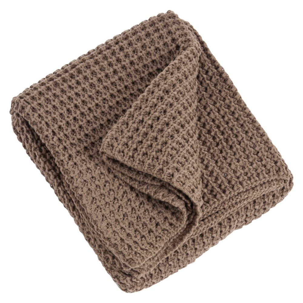 Tan Knitted Design Throw (50