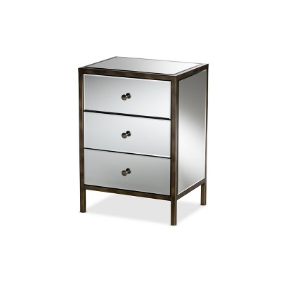 Nouria Mirrored 3 Drawer Nightstand Bedside Table Silver - BaxtonStudio