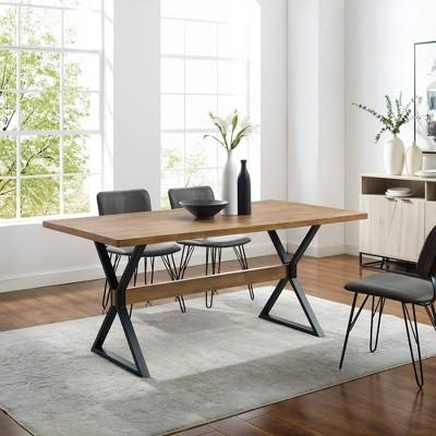 Venna Industrial Farmhouse X Leg Trestle Dining Table Reclaimed Barnwood - Saracina Home