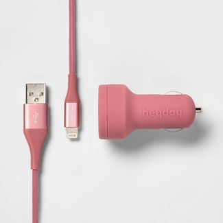 heyday™ 2-Port 3.1A Car Charger (with 6' Lightning to USB-A Cable) - Dusty Pink